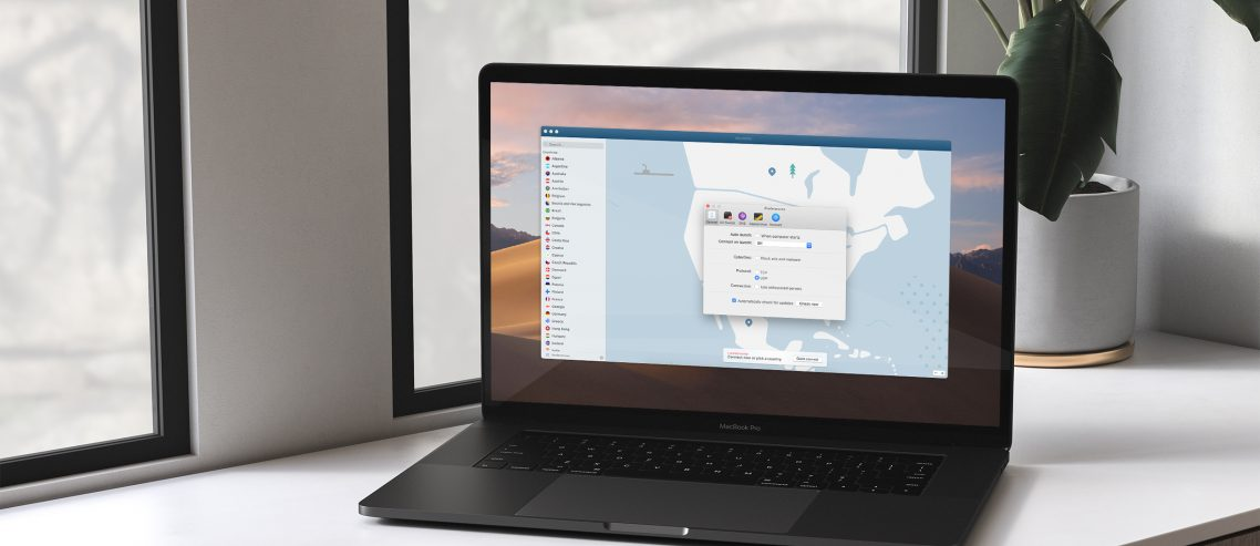 Interface de NordVPN sur un Macbook
